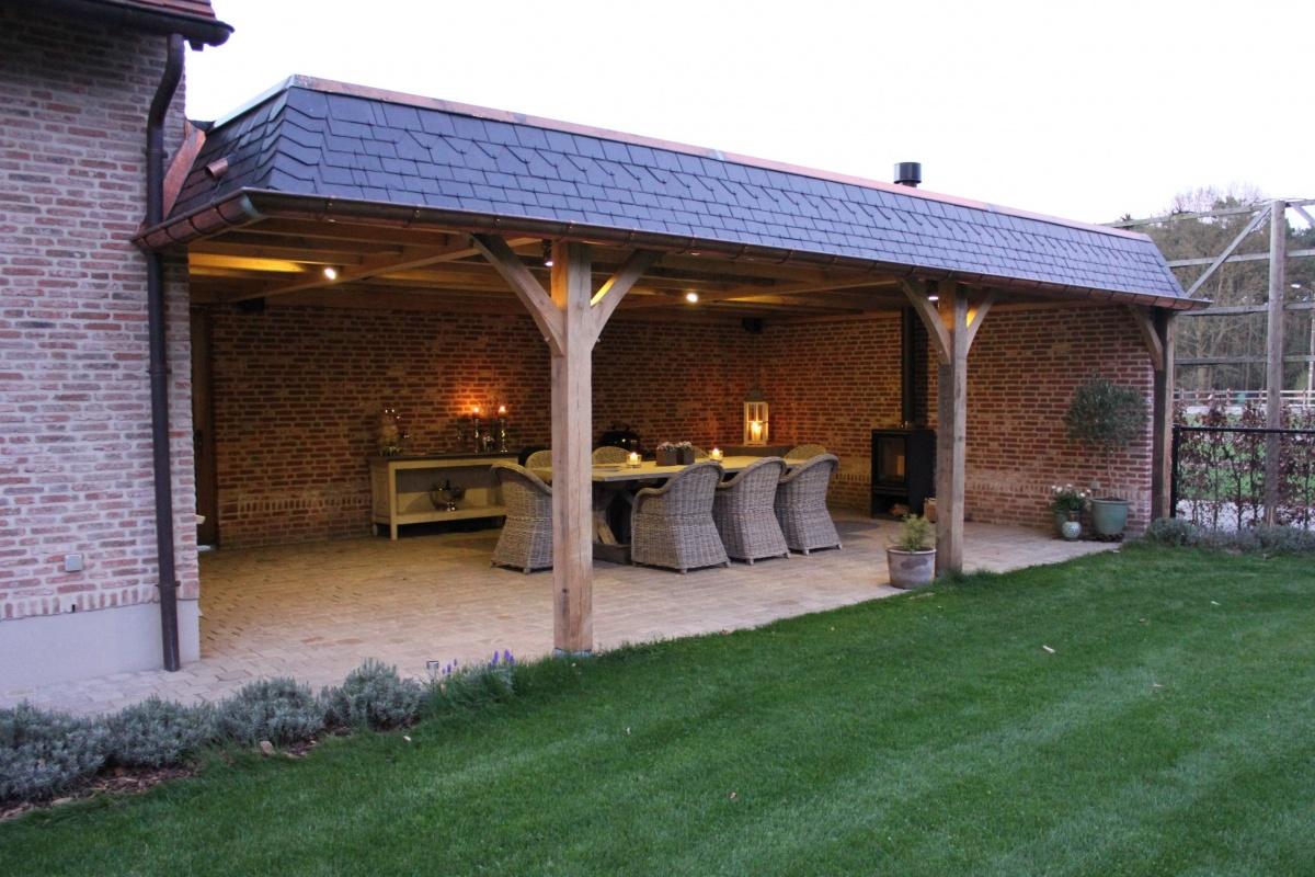 Eiken bijgebouwen woodworks - Overdekt terras in hout ...